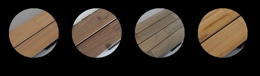 Les différents coloris du bardage en cèdre clipsable